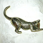 1986 Franklin Mint Brass Miniature Cat Figurine