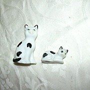 Pair Old Germany Miniature Cat Figurines