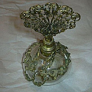 Old Glass & Ornate Metalwork Perfume Bottle