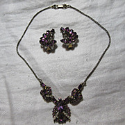 Hollycraft Signed Dated 1953 Demi Parure  Necklace Earring Set Purple Rhinestones Fine Vintage