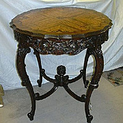 French Center Table Floral Inlay Top Carved Legs & Finial