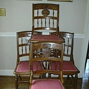 Set 4 Carved Arts & Crafts Eastlake Dining Side Chairs Pineapple Design