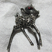 Weiss Deer Pin Brooch  Marcasites Fine Signed Designer Vintage Jewelry