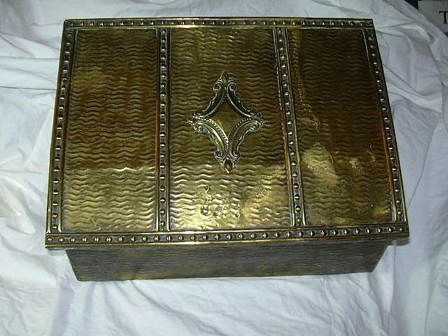 Buy fireplace hearth accessories - Old Brass & Wood Slipper Box Tinderbox Fireplace Hearth Accessory