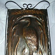 Arts & Crafts Copper & Iron Fire Screen Crane Bird & Cattails Design