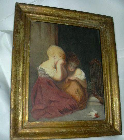 Signed Watercolor Painting Children & Bird 1877 Charlotte Oak