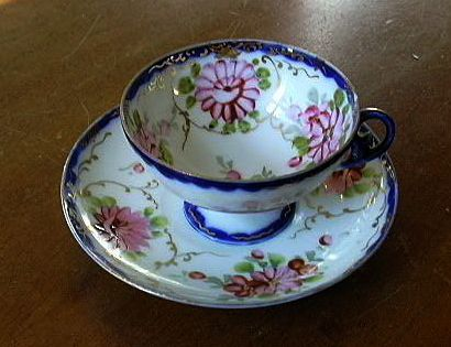 Old Porcelain Footed Cup & Saucer Pink Flowers & Cobalt Fine Tea Dining