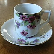 4 Occupied Japan Demitasse Cup & Saucer Pink Flowers Fine Dining Tea China