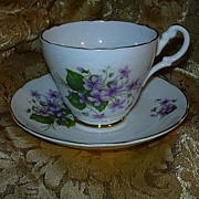English Violets Cup & Saucer Set Consort Bone China