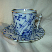 Royal Bayreuth Blue & White Demitasse Cup Saucer Set