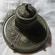 Bronze Inkwell Ornate Metalwork