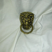 Old Brass Satyr Horned Beast Man Ring Drawer Pull