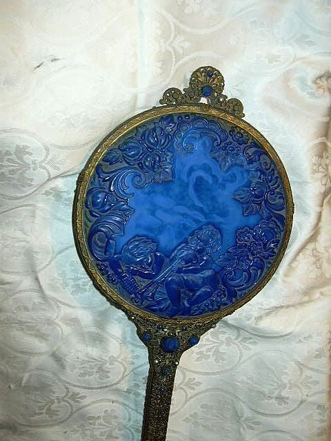 Rare Decorative Hand Mirror Carved Blue Lapis Lazuli  Top