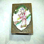 Oriental Enamel Match Box Cover