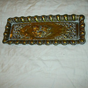 Old Brass Pen Tray Angels Cherubs Ornate