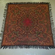 Antique Paisley Throw Scarf Shawl Fine Textile Weaving