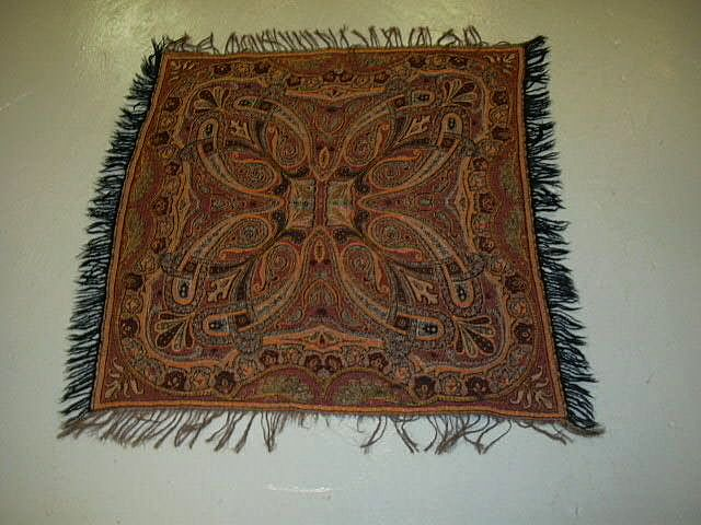 Antique Paisley Throw Scarf Shawl Weaving Fine Textile