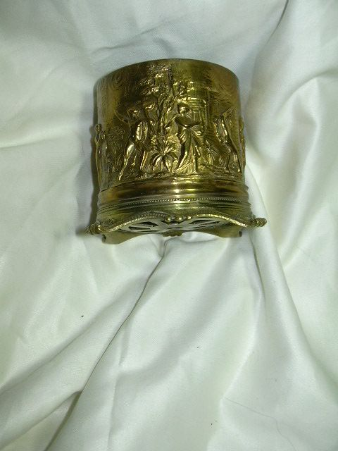 Ornate English Brass Desk Dresser Cup Mythological  Figures & Nudes
