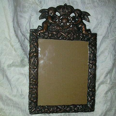 Hallmarked Copper & Silverplate Frame With Angels & Crown