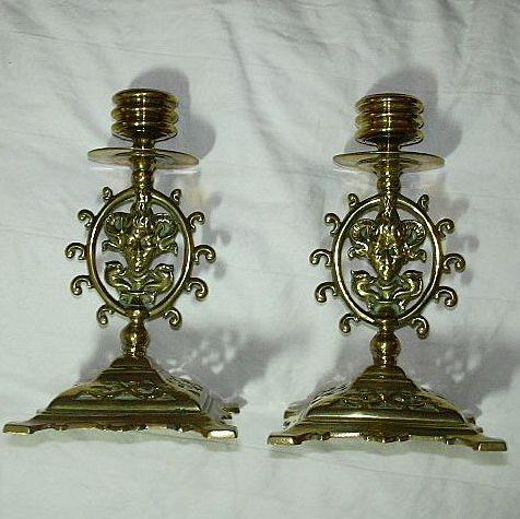 Antique Brass Candlestick Pair Satyr Faces Signed Metalwork