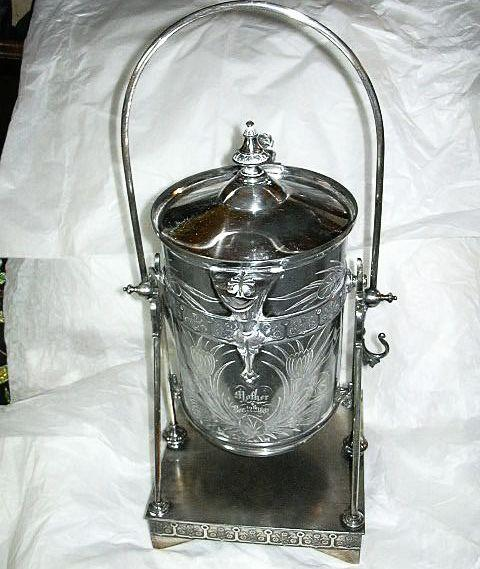 Antique Silver Plate Water Pitcher & Tilt Stand Dated 1881 Middletown Quadruple Plate