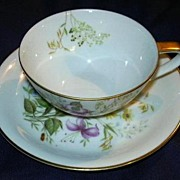 Noritake cup & Saucer Set Columbine & Daisy Flowers Fine Dining Tea China