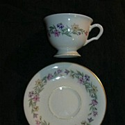 Pickard China Garland Pattern Footed Cup & Saucer Set Fine Dining