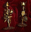 Italian Florentine Pair Gold Gilt Candleholders