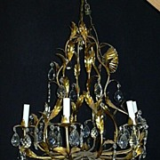 Italian Florentine Gold Gilt Large Metal Chandelier With Prisms Fine Lighting
