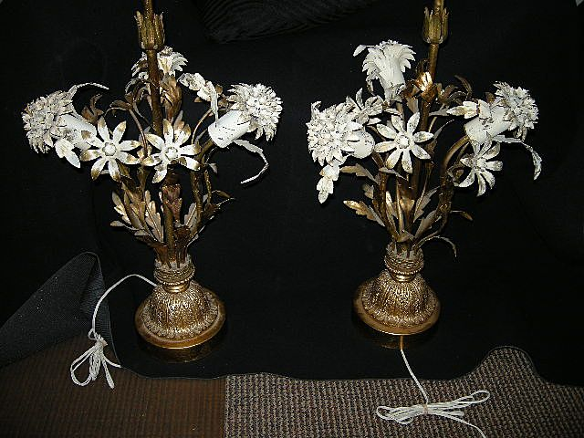 Pair Old Florentine Gold Gilt & White Flowers Table Lamps