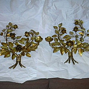 Pair Italian Florentine Gold Gilt Wall Sconces Flowers Candleholders