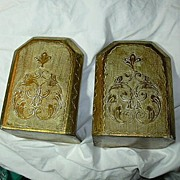 Italian Florentine Gold Gilt & Hand Painted Bookends