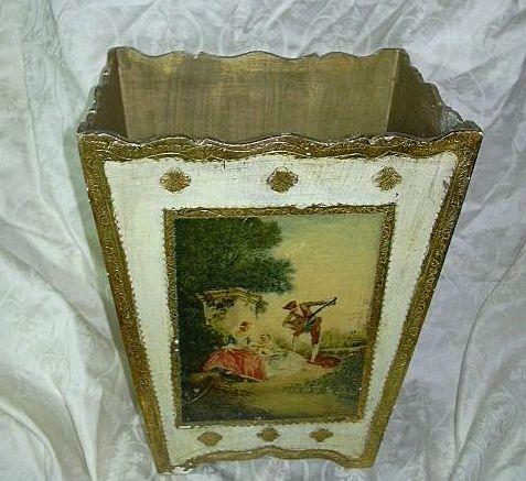 Florentine Italian Wastecan Gold Gilt & Cameo Art