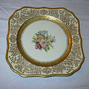 Selb Royal Bavarian Hutschenreuther Edgerton Dessert Plates  Set 12 Gold Trim