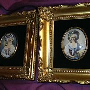 Pair Miniature Paintings or Transfer Cameos Gold Ornate Frames Art Of Ladies