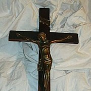 Standing Wood Crucifix Metal Corpus Fine Catholic Altar Cross