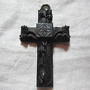 1800's Black Carved Jet Rare 2 Sided Cross Victorian Mourning Religious Christianity Sacrament