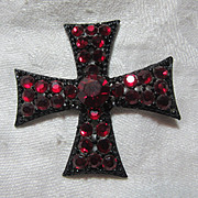 Rare Weiss Red Rhinestone Cross Brooch Pin