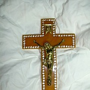 Old Large Bakelite Rhinestone Wall Crucifix Cross Catholic Christianity