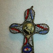 Old Mosaic & Micromosaic Religious Cross With Pope  Cameo