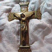 Old Gold Finish Metal Wall Crucifix