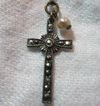 Sterling Silver & Marcasite Tiny Cross On Chain