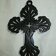 Antique Victorian Mourning Vulcanite Cross Pierced