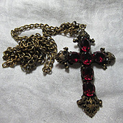 Josef Of Hollywood Cross Pendant Pink Stones