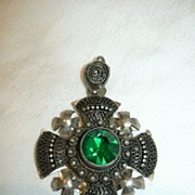 900 Silver Jerusalem Cross Pendant With Emerald Green Stone