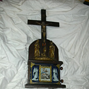 Rare Crucifix Statue & Revolving Stations Of The Cross