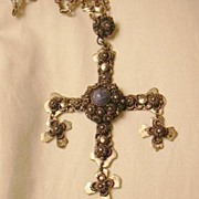 Mexican Wedding  Cross Ornate Mexican Sterling Silver & Chain
