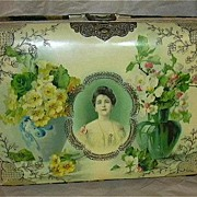 Rare Celluloid Cameo Beautiful Lady Photo Album In  Stand With Celluloid Drawer Rare Art