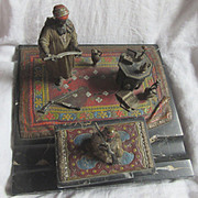 SALE Austrian School Vienna Bronze & Marble Desk Ink Well Set Orientalist Arab Theme