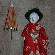 Old Japanese Doll With Umbrella & Kimono